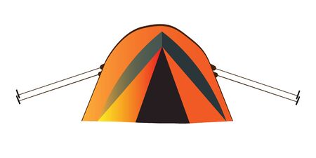 Orange tent for tourism, cartoon sketch illustration of camping equipment. Vector For the design of banners, sign boards, stickers, printed matter