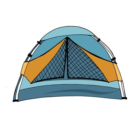Blue tent for tourism, cartoon sketch illustration of camping equipment. Vector For the design of banners, sign boards, stickers, printed matter