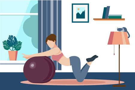 Women s yoga. woman goes in for sports, yoga, fitness with the ball. Home activities. Vector flat illustration on a white background. For website screensavers, design of sporting goods, advertising.