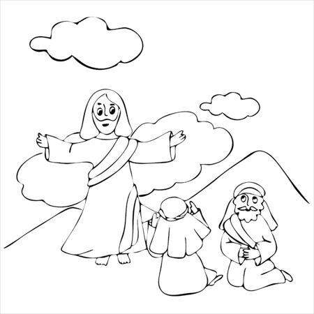 Ascension of Jesus Christ in white robes standing on a cloud with arms open. Hand drawn coloring pages for kids and adult. Biblical vector illustration.