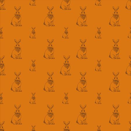 Hare, black and white vector illustration on an orange background. Easter Bunny. Holiday pattern with bunnies. Idea for greeting cards, invitations. Vector illustration in flat design.