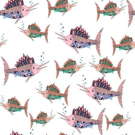 Seamless pattern. Marlin fish. Vector illustration of sea animals. Beautiful drawings with patterns and small details. For the design of children s clothing, textiles, albums, design for children s parties.
