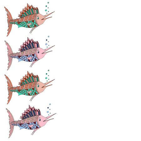 Frame with place for text. Marlin fish. Vector illustration of sea animals. For the design of children s clothing, textiles, albums, design for children s parties.