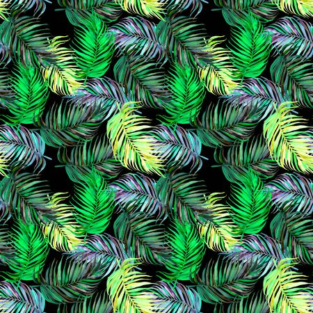 Seamless exotic pattern with tropical palm leaves in vintage style. Jungle botanical watercolor illustration. For wallpaper, textiles, fabrics, stationery, children's clothing, swimwear. Archivio Fotografico