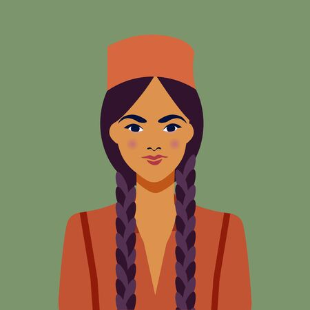 Young arab girl with braided braids. In the skullcap. Female portrait.