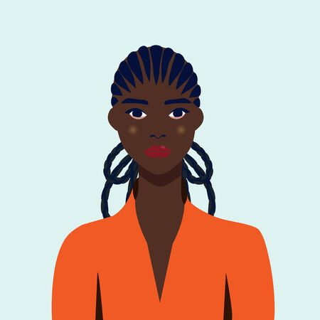 Portrait of a beautiful african woman with earring. Female portrait. Black beauty concept. Nations and races. American student. Vector flat illustration. Great for avatars.