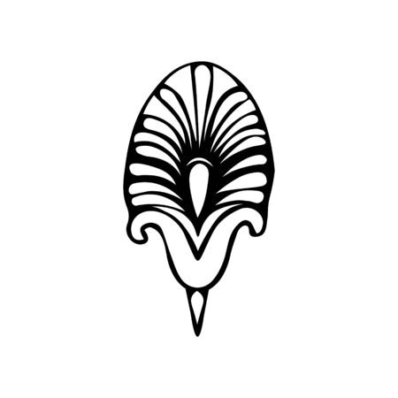Monochrome minimalist tribal pattern with ethnic crescents and a lily flower. Inspired by the signs of primitive Aboriginal culture. Vector on a white background for textile, paper, scrapbook.