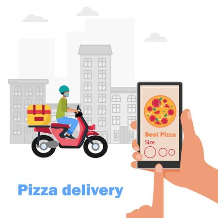 Pizza delivery during the coronavirus. Courier on a moped in a face mask with pizza delivery. the phone through the online application orders pizza. Modern technologies. The city in the background.