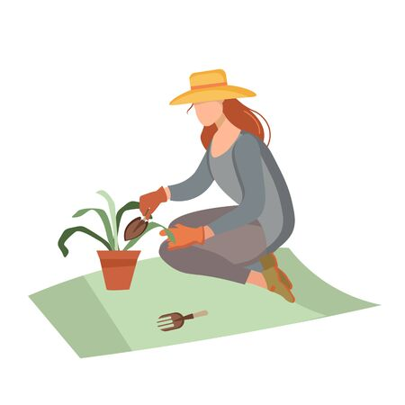 Woman gardener with a cart and flowers. Female character in a garden growing plants. Gardening together planting flowers in the garden. Farmer girl takes care of the plant. We work at home.