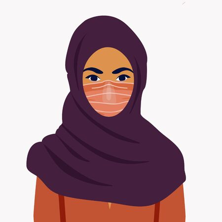 Muslim girl in a mask. COVID-19 conceptual vector illustration. Protection against coronavirus or respiratory virus. Prevention of respiratory tract infections.