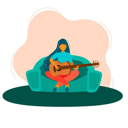 Coronavirus Quarantine, people work at home, live, play and listen to music. I m sitting at home. A girl is resting at home with a guitar during quarantine. Education and study at home. Hobby.