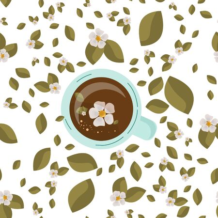 Tea Drink top view. Vector . Tea time, mug, hands . Green leaves and white flowers of tea. Friendly support in difficult times. Conversation with a psychologist