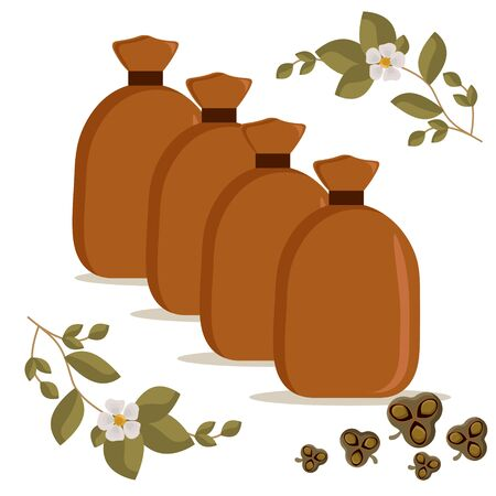 Canvas bag with dry tea leaves. Use for postcard, poster, banner, web design and print on a t-shirt. Easy to edit. Vector illustration