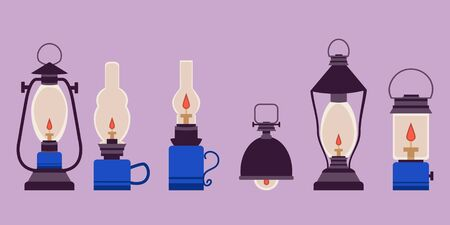 Vintage camping lantern silhouette on a white background. Retro gas lamp with a luminous fire wick. Flat tourist oil lantern outline vector illustration. Old lamp for hiking. For flyers, stickers