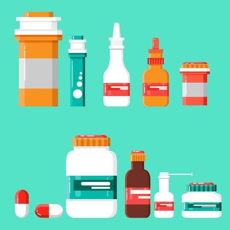 Medicine Icon Set. Medicine bottles with labels, bottles for drugs, tablets, capsules, prescriptions, vitamins etc. Pharmaceutical containers isolated on white background.