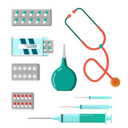 Medicine Icon Set. Tablets, capsules, prescriptions, vitamins etc. Stethoscope, rubber enema. Pharmaceutical containers isolated on white background.
