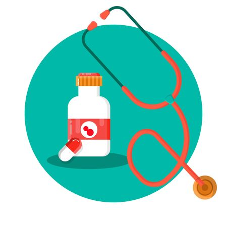 Bottle with label for food, pills, capsules, recipes, vitamins, etc. Stethoscope isolated on a white background. For the design of the concepts of medicine, stickers, banners.
