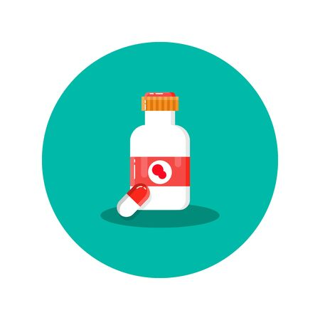 Bottle with label for food, pills, capsules, recipes, vitamins, etc isolated on a white background. For the design of the concepts of medicine, stickers, banners. Ilustracja
