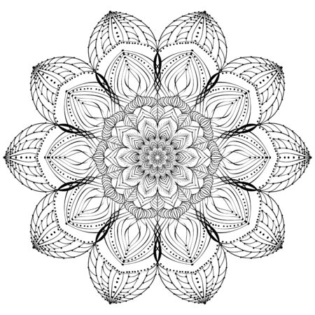 Vector element, arabesque for design template. Luxurious ornament in oriental style. Black-white illustration. Decor for invitations, cards, wallpapers, background, web pages. Coloring book Vectores