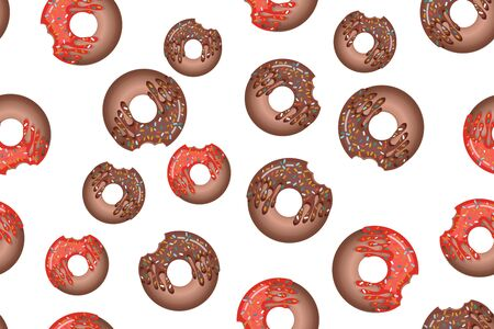 Seamless pattern with colorful donuts in icing on a white background. View from above. For the design of recipes, menus, culinary blogs, cafe design, delivery boxes, stationery.