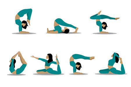 Women s yoga. Vector illustration of a beautiful girl in different poses of yoga. Women do sports, yoga and fitness. Sport. Vector flat illustration.