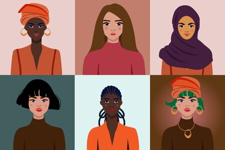 Illustrations with women of different nationalities and cultures. American, African American, Muslim, European. International Women s Day. The struggle for freedom, independence, equality. Illustration