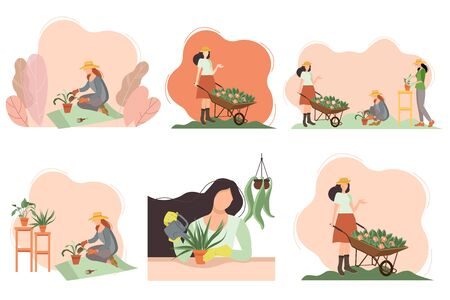 Seth women in the garden. Gardening. Gardener with a cart and flowers, grows indoor plants, plants flowers in the garden. Farmer girl caring for a plant. We work at home. Concept for the site.