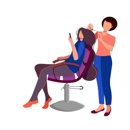 Beauty saloon. Opening after quarantine. Girl hairdresser and client. Fashionable salon with professional workers. Relaxation. Cartoon flat style. Vector illustration