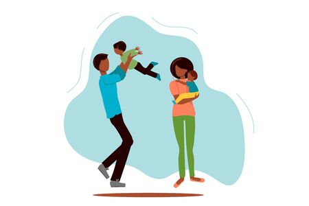 Flat happy black family with children vector illustration. Mom, dad and children are walking. Woman, man, girl, boy. African american family. Concept for website, banner, stationery.