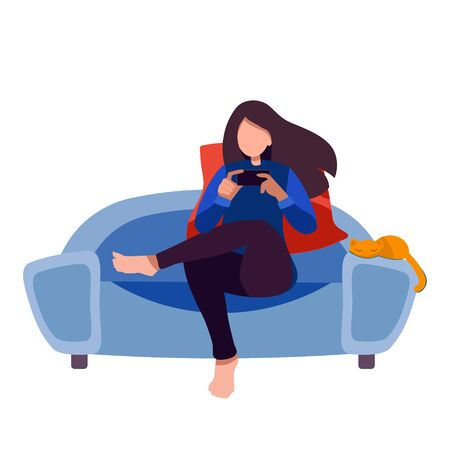 Stay home concept. Young woman on a couch with a smartphone chatting on social networks, next to her is a red cat. surfing the internet. Augmented reality, everyday use of devices and gadgets.