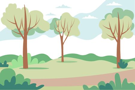 Illustration of a beautiful summer landscape of fields and forest with dawn, green hills, bright blue sky, footpath and bike path - abstract background or wallpaper for banner, greeting card, wallpaper Иллюстрация
