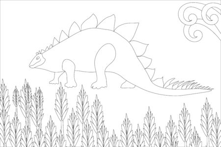 Cute dinosaurs coloring book, illustration. The prehistoric period. Jurassic plants. Stylish anti-stress hand-drawn coloring book. Design for wallpaper. Children's coloring. Wildlife. Illustration