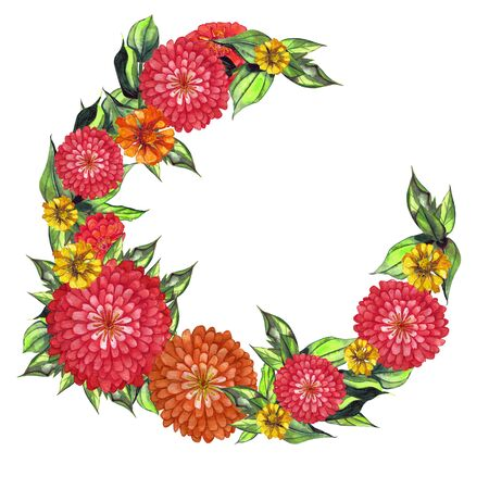Soft orange and red watercolor dahlia, zinnia. Summer flowers. Ramkadlya wedding invitation card, greeting card, scrapbooking, print. Pattern with flowers and greenery. Zdjęcie Seryjne