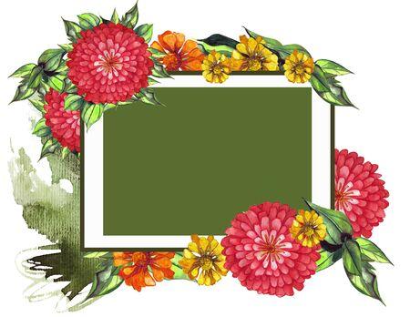 Soft orange and red watercolor dahlia, zinnia. Summer flowers. Banco de Imagens