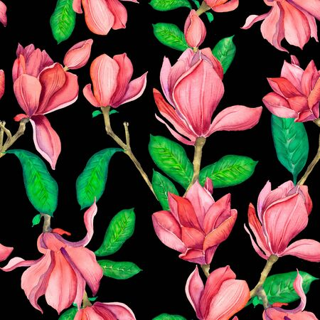 Seamless pattern with pink magnolias. Watercolor spring elegant flowers.