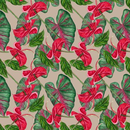 Seamless pattern. Exotic flower - tropical anthurium. Watercolor jungle red flower on a white background. Decorative exotic tropical element for invitation, textile, print and design. Zdjęcie Seryjne