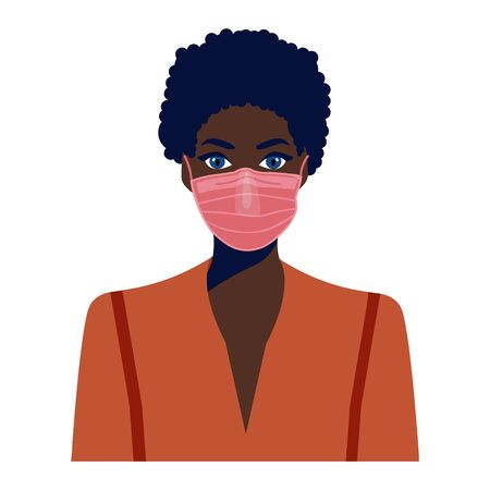 African american girl in face mask. COVID-19 conceptual vector illustration. Protection against coronavirus or respiratory virus. Prevention of respiratory tract infections.