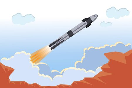 American ship Crew Dragon. A flat launch ship with an astronaut capsule. Rocket launch. Clouds of smoke. Cosmodrome. Spaceship. International Space Station, flight. Flat style vector illustration.
