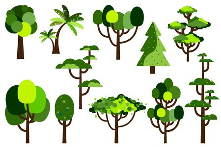 Cartoon tree. Collection of trees. Simple flat forest flora, coniferous and deciduous trees, oak, pine, Christmas trees isolated plants. Vector illustration set.