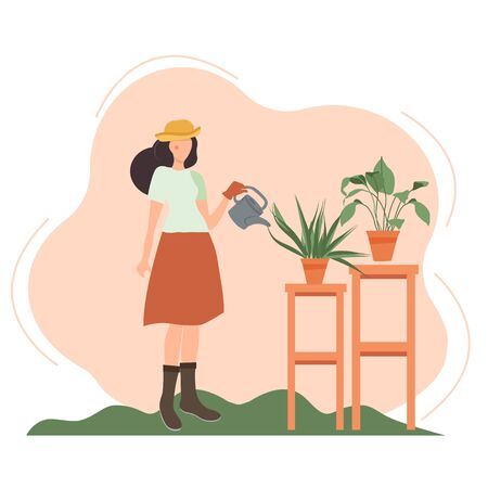 Garden A young girl with a watering can watering potted plants, a woman caring for a garden, growing indoor flowers. Florist. Vector illustration for postcard, website, banner or poster.