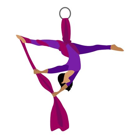 A young girl practices yoga with a ribbon or hammock. Aerial Yoga. Stretching exercises. Anti-gravity relaxation. Sport, healthy lifestyle and fitness training vector illustration.