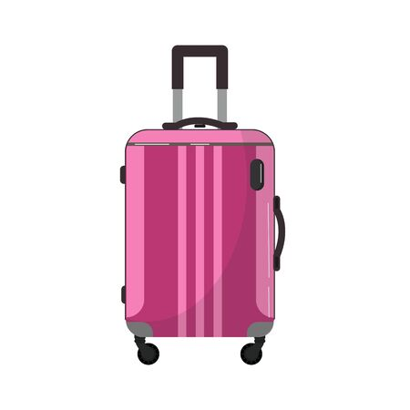 Large travel plastic suitcase. Bag on wheels for business trip, summer vacation, travel. Foreground. Polycarbonate suitcase with wheels isolated on white. Traveler.