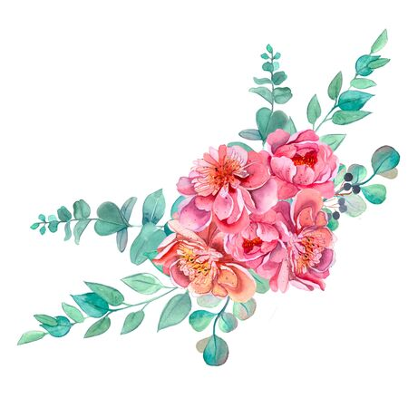 Beautiful floral arrangement with peonies. Pink peonies. Bouquet of watercolor flowers. Ready-made clipart compositions. Pink peonies. Wedding invitations. Scrapbooking Birthday Stok Fotoğraf