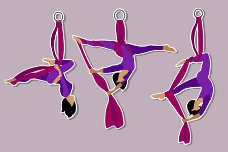 Set. Stickers Aerial with silk ribbon and hammock. Girl. Aerial Yoga. Stretching exercises. Anti-gravity relaxation. Sport, healthy lifestyle and fitness training vector illustration.