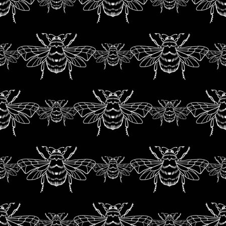 Vector seamless pattern with white honey bee on a black background. Bumblebee, beehive. For the design of labels, products, beekeeping products, honey, wallpaper, wrapping paper, fabric. 向量圖像