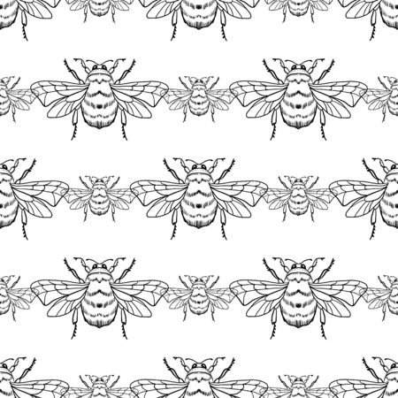 Vector seamless pattern with honey bee on a white background. Bumblebee, beehive. For the design of labels, products, beekeeping products, honey, wallpaper, wrapping paper, fabric.