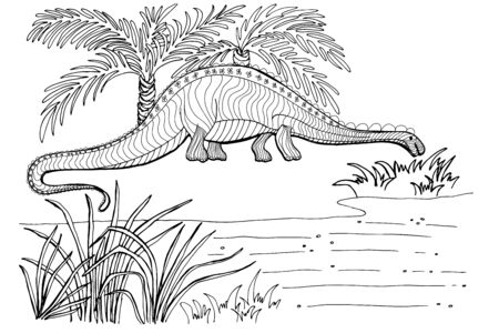 Dinosaur, Cretaceous, line illustration for coloring. Coloring book for adults and children. prehistoric period.