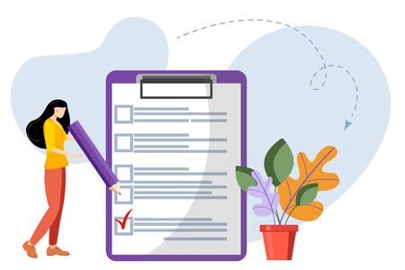 Checklist. Elections. Girl with a checklist and check boxes. Business plan, marketing strategy, survey, completed tasks, teamwork success concepts. Modern flat design. Vector illustration Ilustração