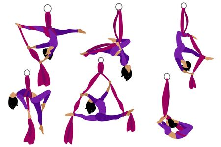 Set. Aerial with silk ribbon and hammock. Girl. Aerial Yoga. Stretching exercises.