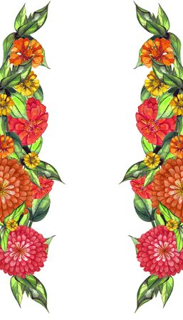 Soft orange and red watercolor dahlia, zinnia. Summer flowers. Ramkadlya wedding invitation card, greeting card, scrapbooking, print. Pattern with flowers and greenery. Banco de Imagens